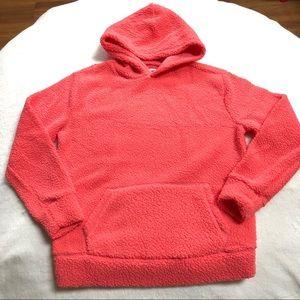 Coral Red Cozy Sherpa Hoodie with Kangaroo Pocket